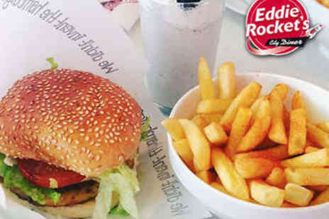 Eddie Rocket - Two Course Diner Meal with Milkshake for Two - Save 53%