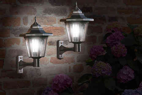 Zoozio - Two LED solar powered wall lanterns  - Save 53%
