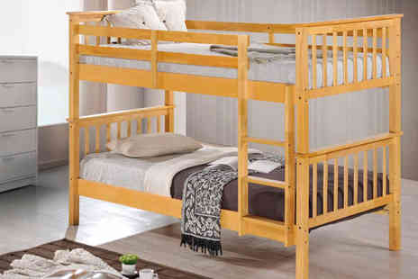 Sleep Design - Wooden Bunk Bed in Beech - Save 60%