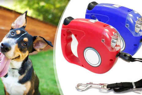 eBuzz - Retractable Dog Lead with 4 LED Lights - Save 80%