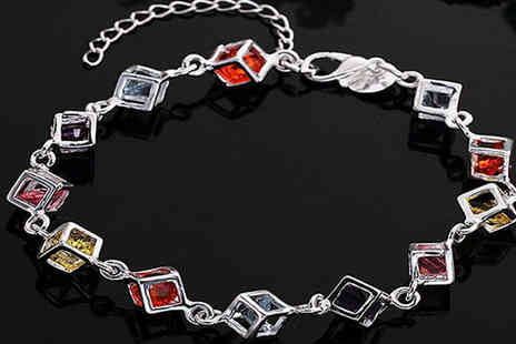 CFS Trading - Silver Crystal Cube Bracelet - Save 60%