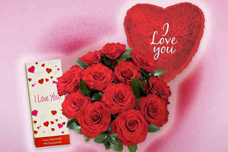 Greetings Direct - Classic 12 Red Roses Bouquet with Optional Balloon and Chocolate - Save 50%