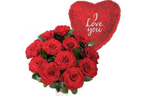 GGGG - 12 Red Roses with I Love You Balloon - Save 45%