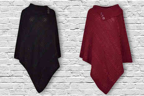 Gorgeous Selection - Ladies Knitted Polo Neck Ponchos - Save 57%