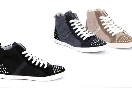 Eden Wear - Stud Detail Faux Suede Trainers - Save 77%