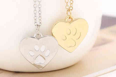 Gift box bristol - Silver or Gold Plated Paw Print Necklace - Save 77%