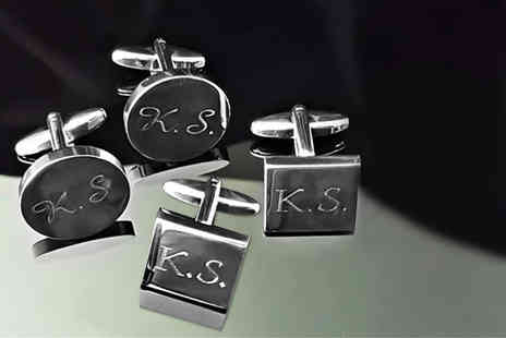 Aspire - Personalised rhodium plated cufflinks - Save 79%