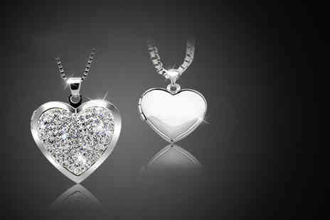 Cian Jewels - Crystal heart locket necklace made with Swarovski Elements - Save 0%