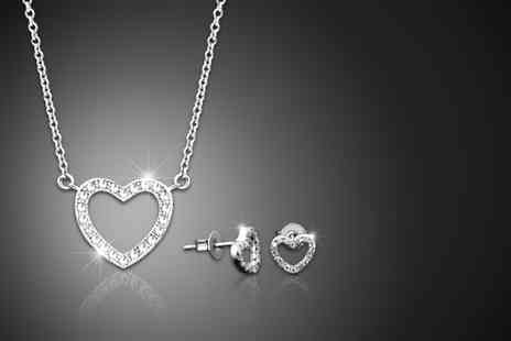 Jewel Unique - 18ct white gold-plated pavé heart pendant necklace and earrings duo set made with Swarovski Elements - Save 94%