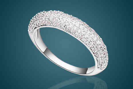 Diamond Republic Jewllery - 18K White Gold Plated Swarovski Crystal Ring - Save 78%