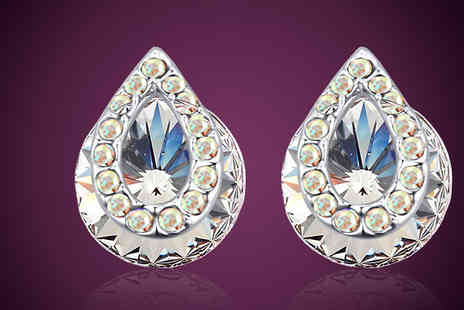 Diamond Republic Jewllery - White Gold Plated Clear Crystal Pear Earrings - Save 90%