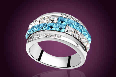 Diamond Republic Jewllery - Blue and Clear Swarovski Elements Crystal Ring - Save 80%