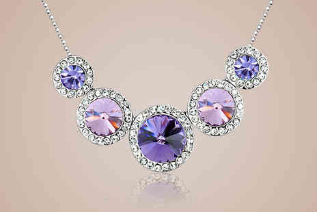Diamond Republic Jewllery - Five Circle Swarovski Elements Lilac Crystal Necklace - Save 80%