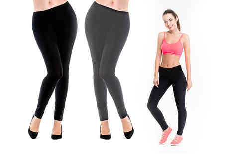 Nothing New 2 Wear - Pair of black cable or high waisted winter leggings - Save 75%