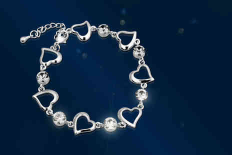 Aspire - Heart link bracelet made with Swarovski Elements  - Save 90%