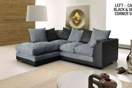 Abakus Direct - Caro Black and Grey Corner Sofa Available for both Left or Right - Save 57%