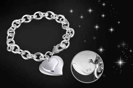 My Boutique Store - Silver plated double heart bracelet - Save 91%