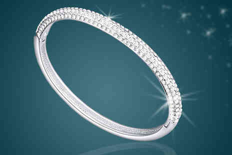 Diamond Republic Jewllery - White Gold Plated Crystal Oval Bracelet - Save 88%