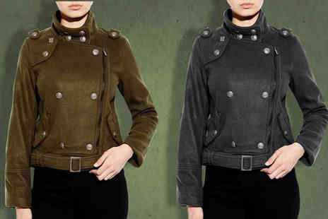 Nothing New 2 Wear - Ladies Military Jacket with Pewter Buttons available in Two Colours - Save 68%