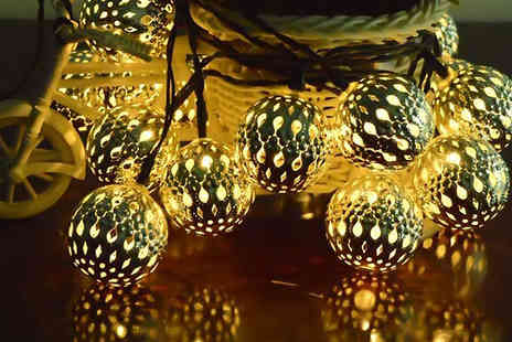 Urshu - Six ft Bohemian Globe Solar String Garden Lights - Save 64%