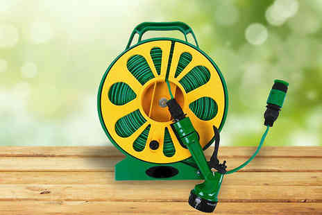 Urshu - 50ft Flat Garden Hose with Seven Function Spray Nozzle - Save 67%