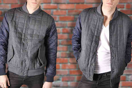 Nothing New 2 Wear - Quilted Tweed Baseball Jacket - Save 51%