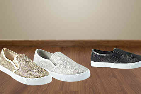 Solewish - Glitzy Womens Slip On Trainers Available in Three Colours - Save 74%