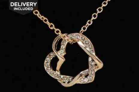 LivingSocial Shop  - Rose Gold Plated Twisted Hearts Necklace - Save 79%