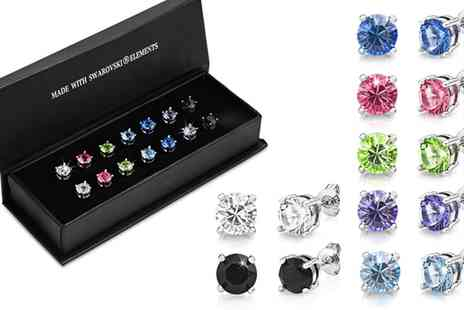 Groupon Goods Global GmbH - 18ct White Gold Plated 6mm Coloured Round Earrings Made With SWAROVSKI ELEMENTS - Save 87%