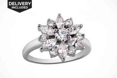 LivingSocial Shop  - White Gold Filled Ring with Created Sapphires - Save 86%