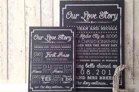 By Invitationly - A3 or A4 Love Story Board and Personalised Chalkboard Theme   - Save 49%
