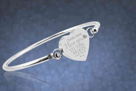 British Gem - Personalised  I love you to the moon and back bangle - Save 67%