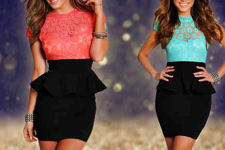 Marcus Emporium - Peplum Lace Bodycon Dress Available in Two Colours - Save 63%