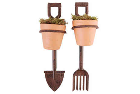 Virgin Experience Days - Fork and Spade Flower Pot Holder - Save 0%