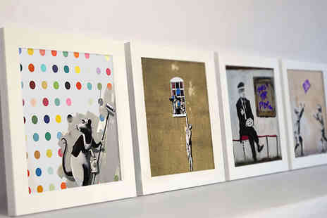Who Art Now  - Unframed four piece 15cm x 15cm Banksy print set  - Save 83%