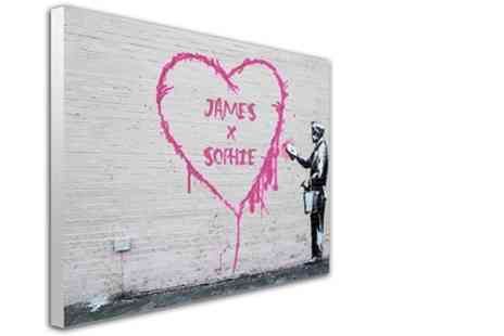 You Frame - Valentines Day Banksy Artwork on Canvas in Choice of Size - Save 66%