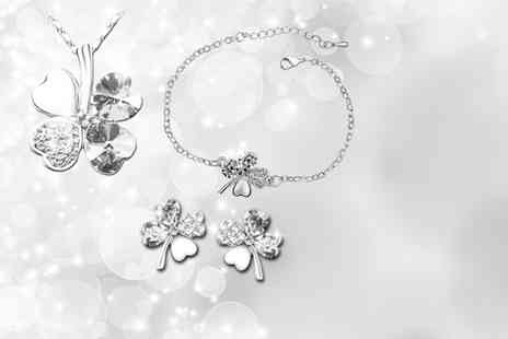 Jewelian - Four leaf clover tri set with a necklace, bracelet and earrings   - Save 89%