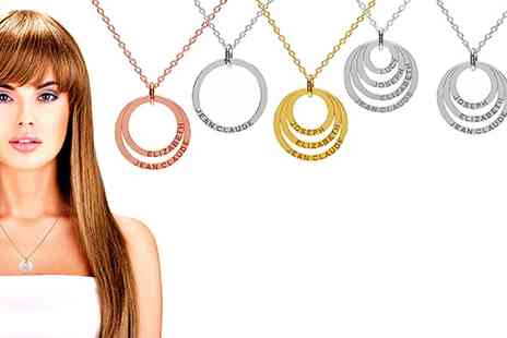 SilvexCraft - Personalised Hoop Necklace in Choice of Style With Free Delivery - Save 80%