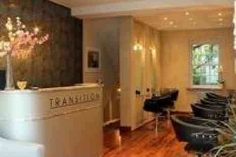 Transition Salon -  Half head of highlights,or full head tint with treatment, head massage, cut & blow dry - Save 56%