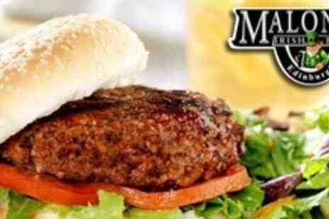 Malones Irish Bar - Two Prime Beef Burgers and Two Cocktails  - Save 63%
