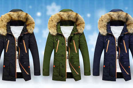 Fab Shopper - Mens Hooded Parka Jacket Available in Three Colours - Save 65%