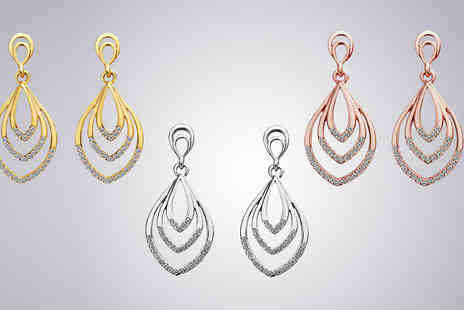 Trendy Banana - Layered Swarovski Elements Crystal Drop Earrings - Save 78%