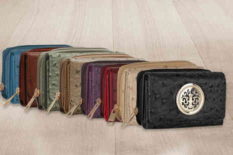 Trendy Look - Ostrich Effect Purse Wallet  Available in Eight Colours - Save 69%