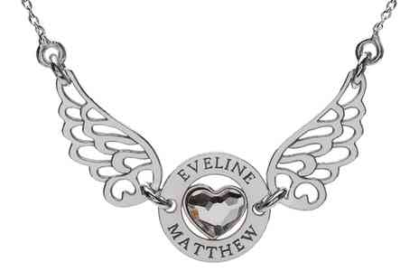 L.J.Les - Sterling Silver Angel Wings And Heart Necklace With Engrave With Free Delivery - Save 72%
