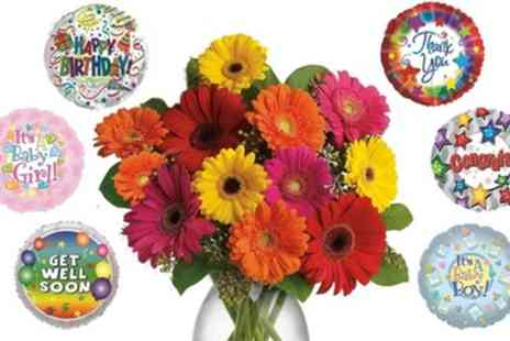 KAD - 12 Mixed Gerberas with Free Balloon - Save 40%