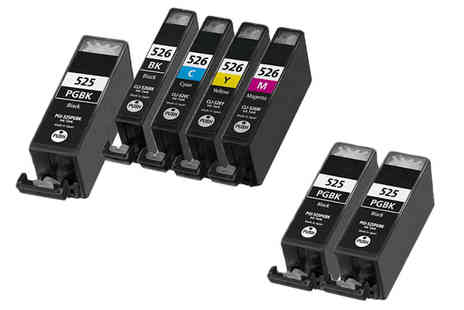 PrinterInks -  Seven Canon printer ink cartridges   - Save 65%