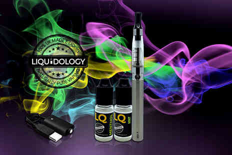 Liquidology - Five piece e cigarette starter kit including two flavoured e liquids  - Save 72%