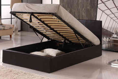 Furniture Instore - Single, small double, double or king size faux leather Ottoman storage bed  - Save 56%