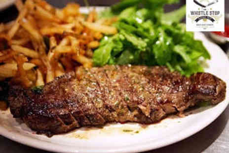 The Whistle Stop Barber Shop Bar and Diner - Steak and Fries with Cocktail for Two - Save 52%