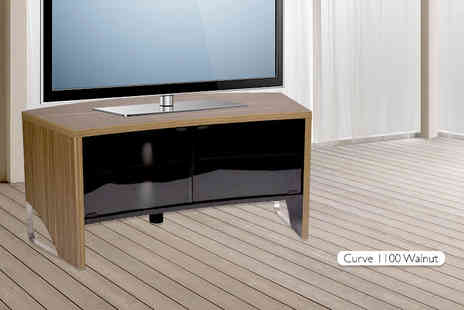 MMT Furniture Designs  -  110cm modern curved walnut TV cabinet with smoked glass doors  - Save 61%
